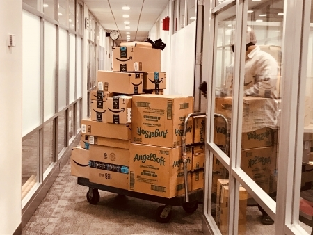 Photo: One of 3-5 daily Amazon shipments arriving at Harvard