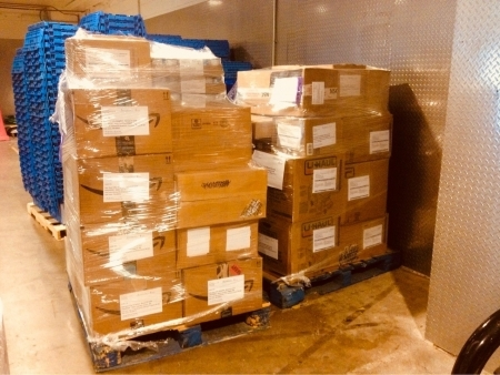 Photo: Pallets of backpacks and supplies ready for shipping at Lurie Children's Hospital of Chicago